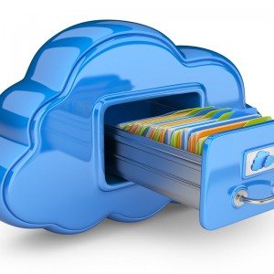 File storage in cloud. 3D computer icon isolated on white
